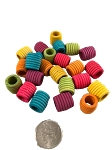 Wiggly Grooved Barrel Beads - Coloured - 24pc