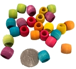 Wood Barrel Beads - Coloured - 100pc - BULK