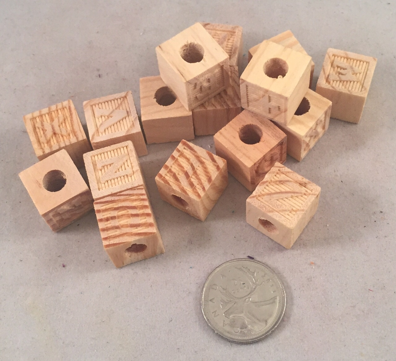 Mini Wood ABC Blocks - All Natural - 15pc