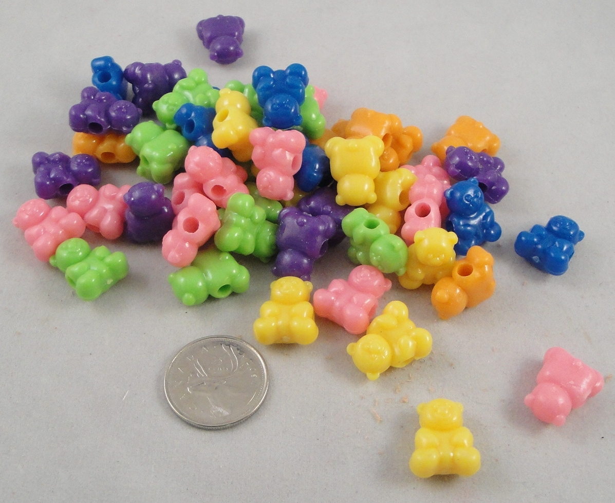 Bear Pony Beads - 50pc