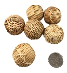 Mini Popcorn Bamboo Balls - Natural - 1in - 6pc