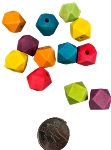 Lotsa-sided Wood Beads - Coloured - 12pc