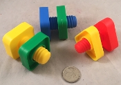 Huge Plastic Nuts & Bolts - 3pc
