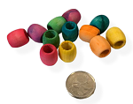 Bigger Wood Barrel Beads - Coloured - 100pc - BULK