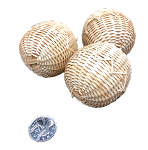Popcorn Bamboo Balls - Natural - 2in - 3pc