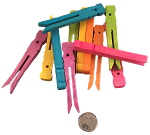 Wooden Clothespins - Coloured - Small - 12pc